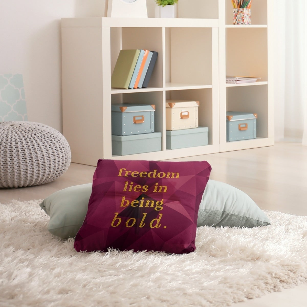 Quotes Faux Gemstone Be Bold Inspirational Quote Floor Pillow Square Tufted Overstock 30309086