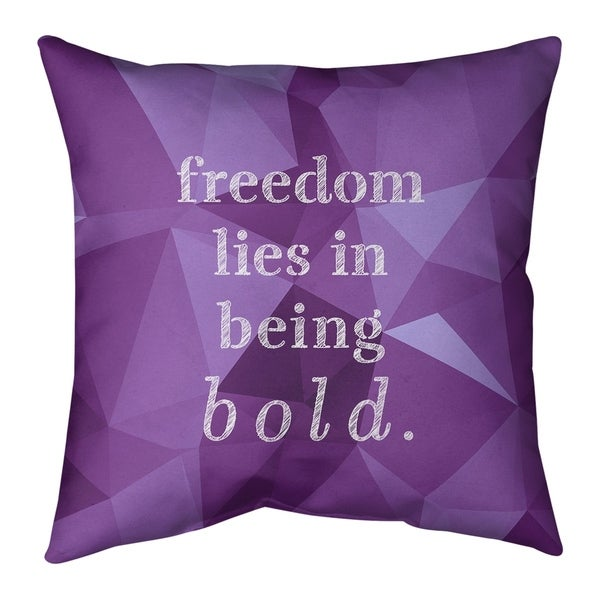 Quotes Faux Gemstone Be Bold Inspirational Quote Pillow (Indoor/Outdoor)