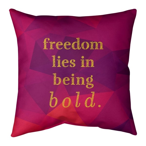 Quotes Faux Gemstone Be Bold Inspirational Quote Pillow-Spun Polyester