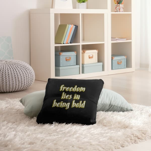 Quotes Be Bold Inspirational Quote Chalkboard Style Floor Pillow Square Tufted Overstock 30309335