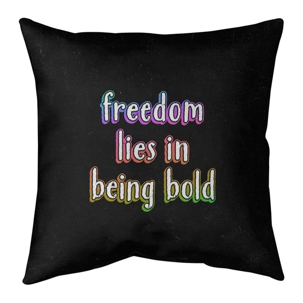 Quotes Be Bold Inspirational Quote Chalkboard Style Pillow (w/Rmv Insert)-Spun Poly