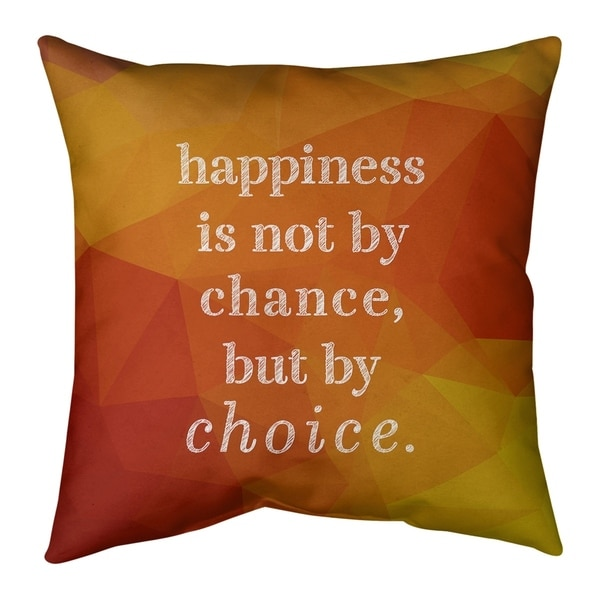 Quotes Faux Gemstone Happiness Inspirational Quote Pillow-Faux Linen