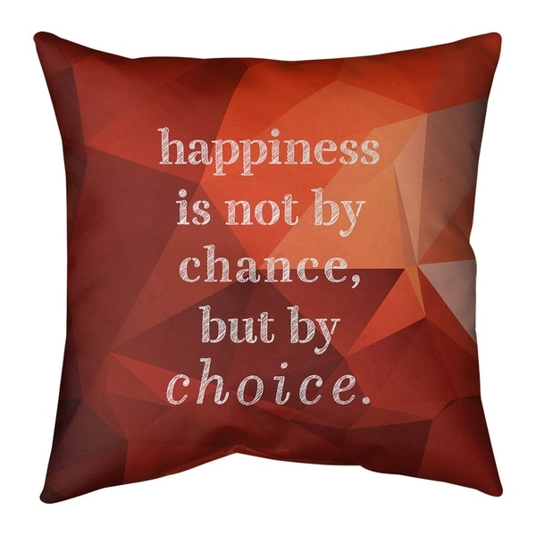 Quotes Faux Gemstone Happiness Inspirational Quote Pillow-Cotton Twill