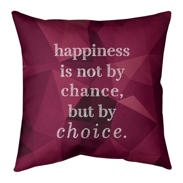 Quotes Faux Gemstone Happiness Inspirational Quote Pillow (w/Rmv Insert)-Spun Poly