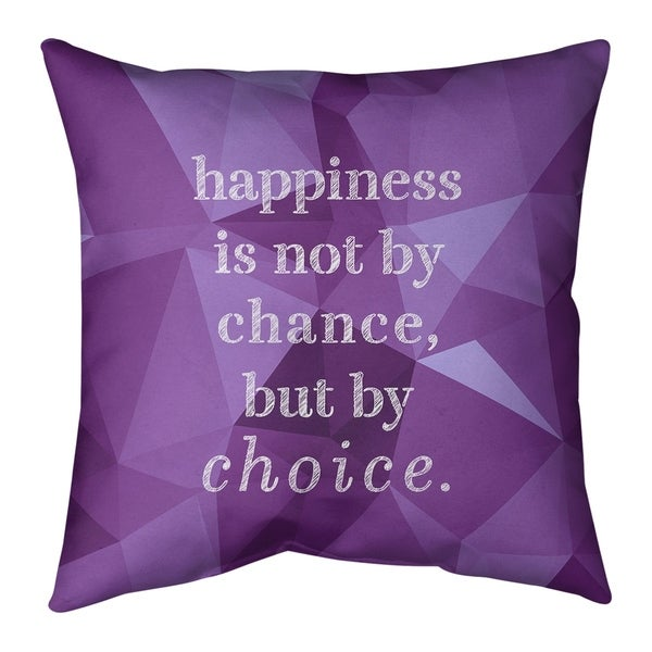 Quotes Faux Gemstone Happiness Inspirational Quote Pillow-Spun Polyester