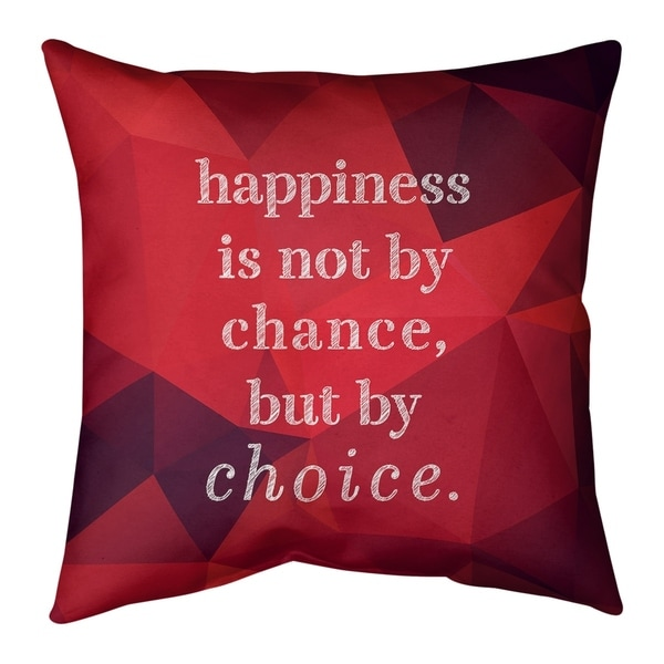 Quotes Faux Gemstone Happiness Inspirational Quote Pillow (Indoor/Outdoor)