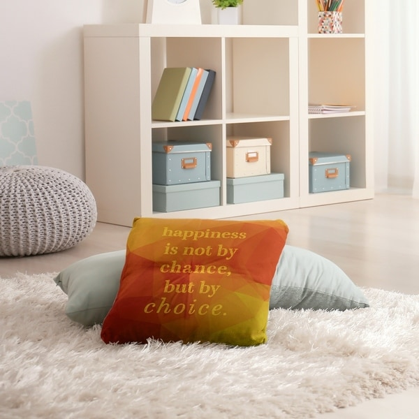 Quotes Faux Gemstone Happiness Inspirational Quote Floor Pillow - Square Tufted