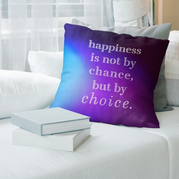 Quotes Multicolor Background Happiness Inspirational Quote Pillow-Spun Polyester
