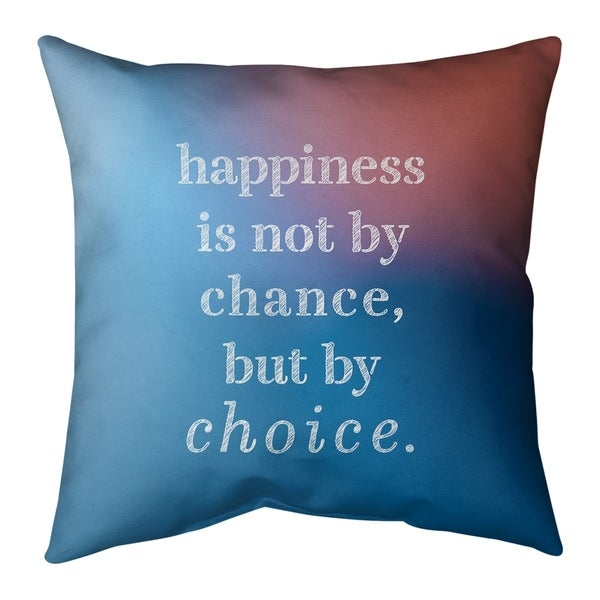 Quotes Multicolor Background Happiness Inspirational Quote Pillow (w/Rmv Insert)-Spun Poly
