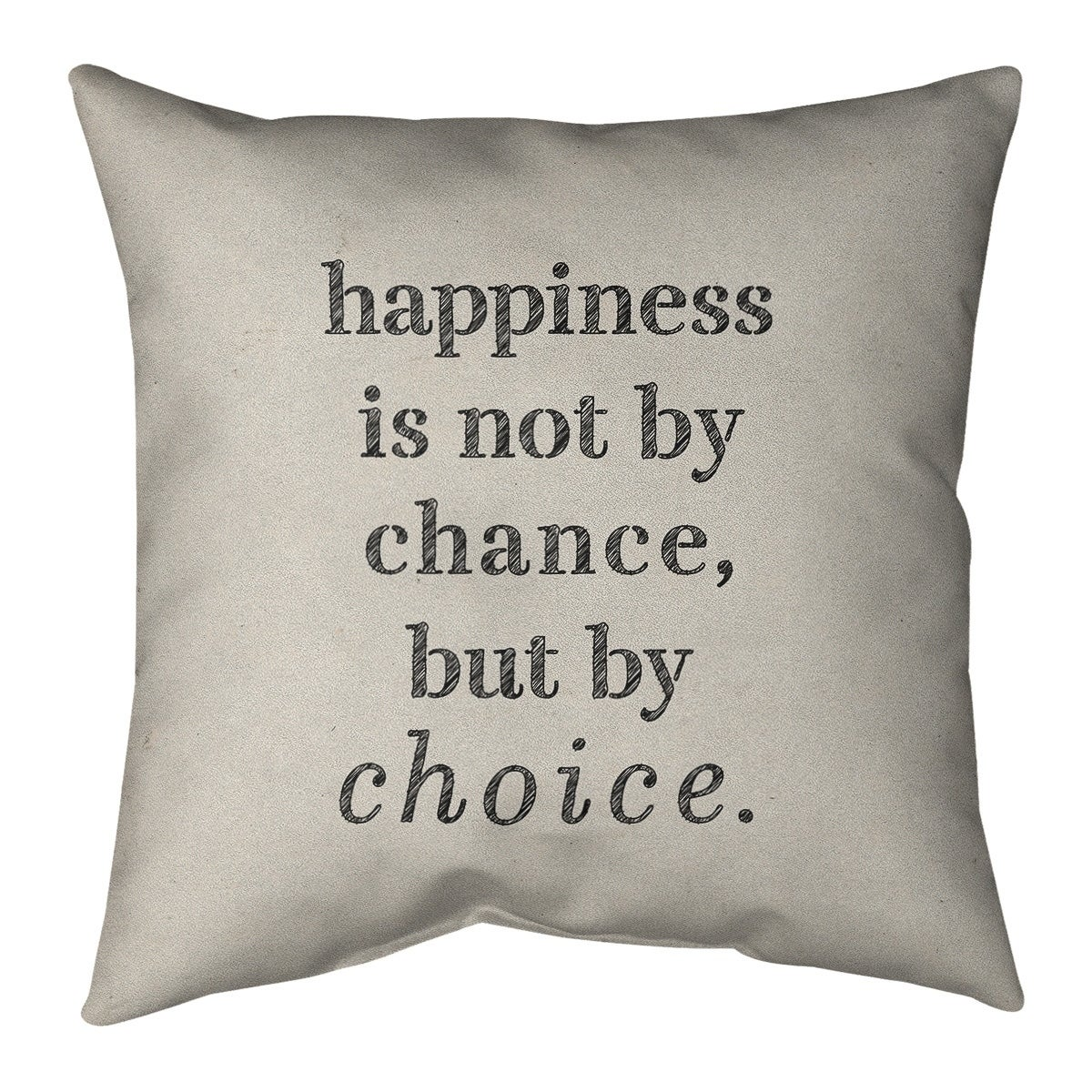 Quotes Handwritten Happiness Inspirational Quote Pillow Faux Linen Overstock 30309586