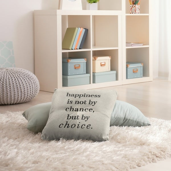 Quotes Handwritten Happiness Inspirational Quote Floor Pillow - Square Tufted