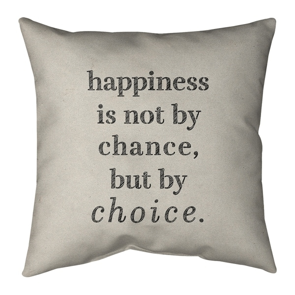 Quotes Handwritten Happiness Inspirational Quote Pillow (w/Rmv Insert)-Spun Poly