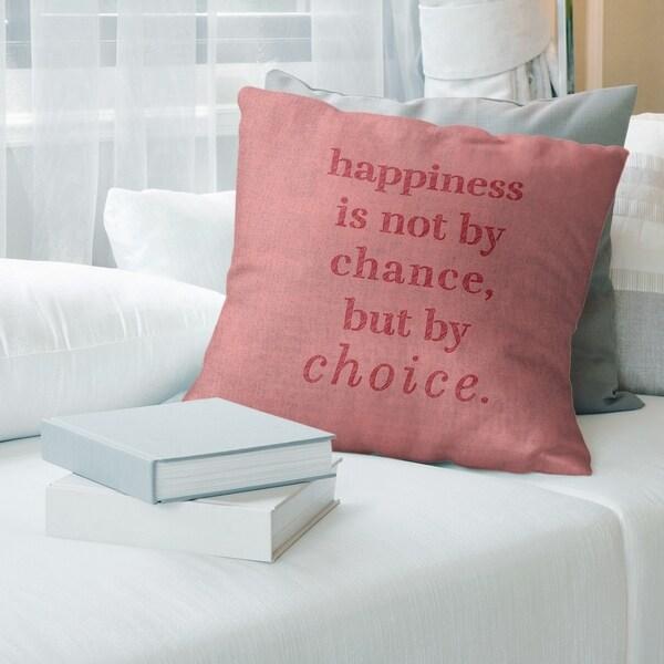 Quotes Handwritten Happiness Inspirational Quote Pillow (Indoor/Outdoor)