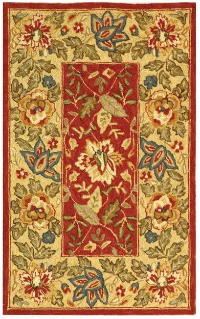 Safavieh Handmade Boitanical Red/ Ivory Wool Runner (2'6 x 4')