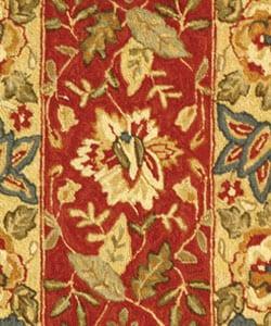 Safavieh Handmade Boitanical Red/ Ivory Wool Runner (2'6 x 4') - Thumbnail 1