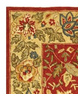 Safavieh Handmade Boitanical Red/ Ivory Wool Runner (2'6 x 4') - Thumbnail 2