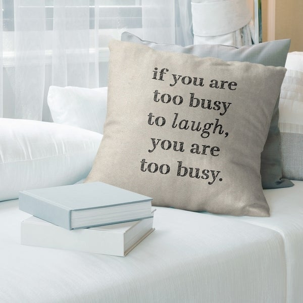Quotes Handwritten Make Time for Laughter Quote Pillow (w/Rmv Insert)-Spun Poly