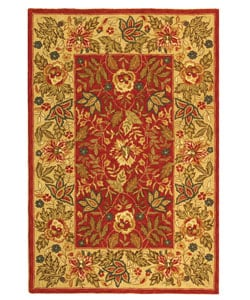 Safavieh Handmade Boitanical Red/ Ivory Wool Rug (6' x 9')