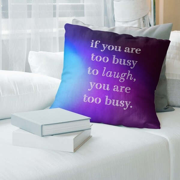 Quotes Multicolor Background Make Time for Laughter Quote Pillow (w/Rmv Insert)-Spun Poly
