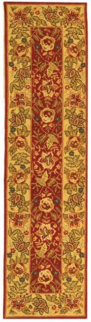 Safavieh Handmade Boitanical Red/ Ivory Wool Runner Rug - 2'6 x 8'