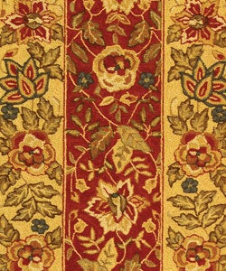 Safavieh Handmade Boitanical Red/ Ivory Wool Runner (2'6 x 8') - Thumbnail 1