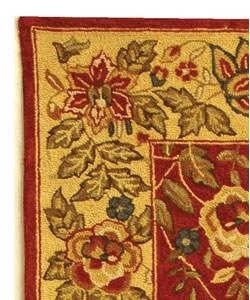 Safavieh Handmade Boitanical Red/ Ivory Wool Runner (2'6 x 8') - Thumbnail 2