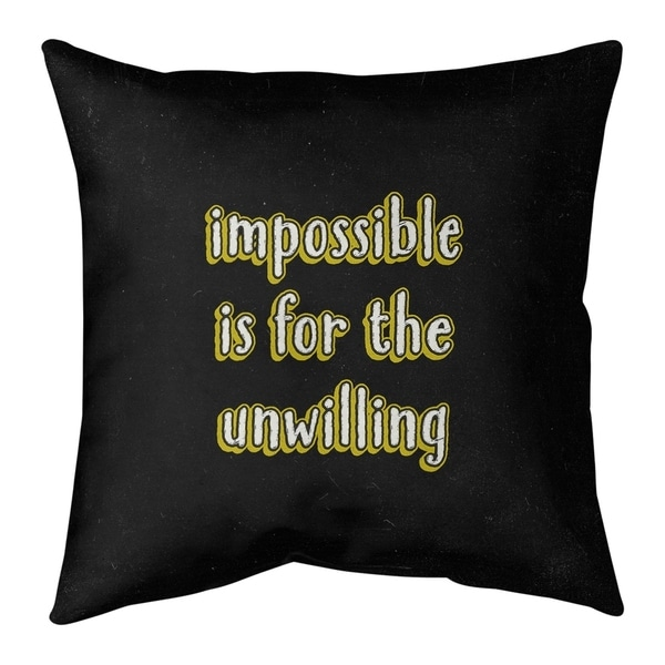 Quotes Impossible Quote Chalkboard Style Pillow (w/Rmv Insert)-Spun Poly