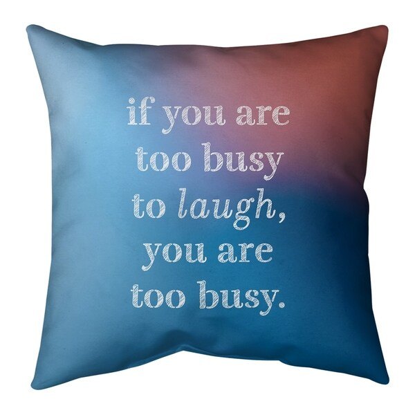 Quotes Multicolor Background Make Time for Laughter Quote Pillow-Faux Suede