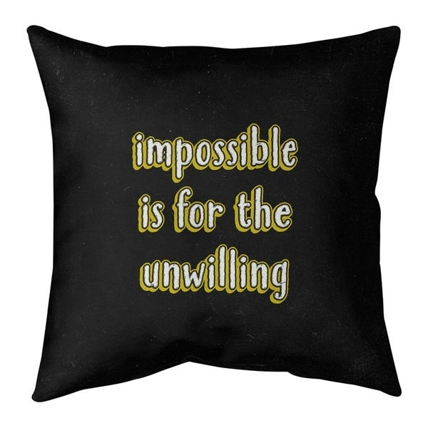 Quotes Impossible Quote Chalkboard Style Pillow-Faux Suede