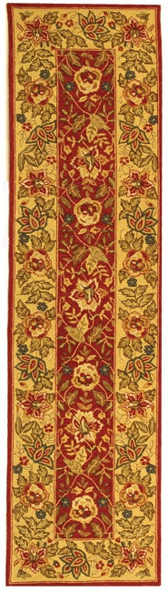 Safavieh Handmade Boitanical Red/ Ivory Wool Runner Rug - 2'6 x 12'