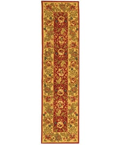 Safavieh Handmade Boitanical Red/ Ivory Wool Runner (2'6 x 12') - Thumbnail 0