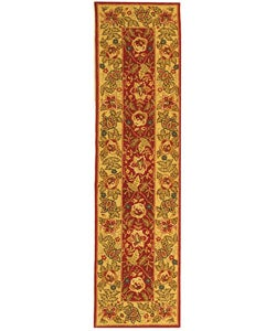 Safavieh Handmade Boitanical Red/ Ivory Wool Runner Rug - 2'6 x 12' - Thumbnail 0