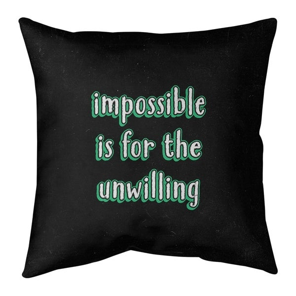 Quotes Impossible Quote Chalkboard Style Pillow-Cotton Twill