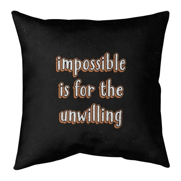 Quotes Impossible Quote Chalkboard Style Pillow-Faux Linen