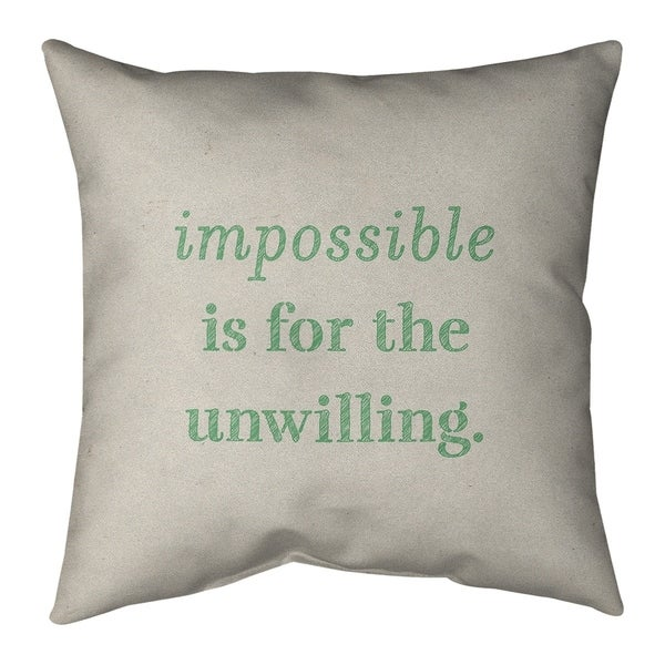 Quotes Handwritten Impossible Quote Pillow-Faux Suede