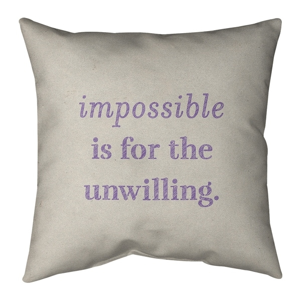 Quotes Handwritten Impossible Quote Pillow-Faux Linen