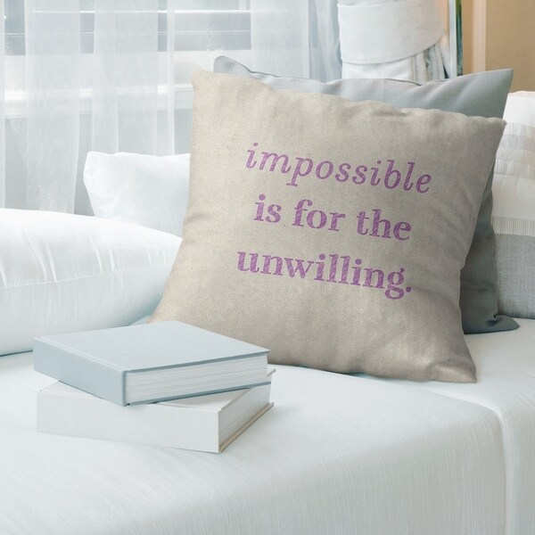 Quotes Handwritten Impossible Quote Pillow-Spun Polyester
