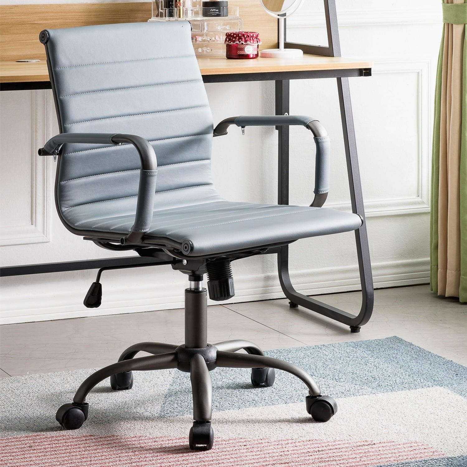 Ovios Ergonomic Office Chair Leather Computer Chair For Home Office Or Conference Mid Back Swivel Desk Chair With Arms