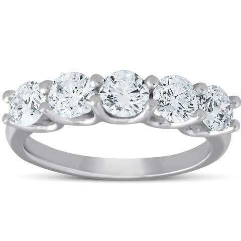 Pompeii3 14k White Gold 1 1/2 Ct TDW Diamond Five Stone Wedding Ring Lab Grown (G-H/VS1-VS2)