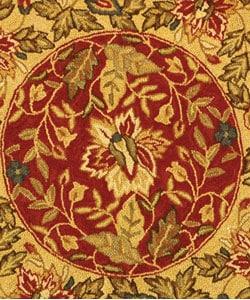 Safavieh Handmade Boitanical Red/ Ivory Wool Rug (3' Round)