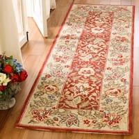 Safavieh Handmade Boitanical Red/ Ivory Wool Rug - 3' x 3' round