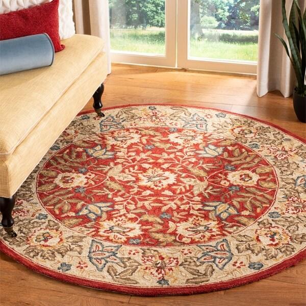 """Safavieh Handmade Boitanical Red/ Ivory Wool Rug - 5'6"""" x 5'6"""" round"""