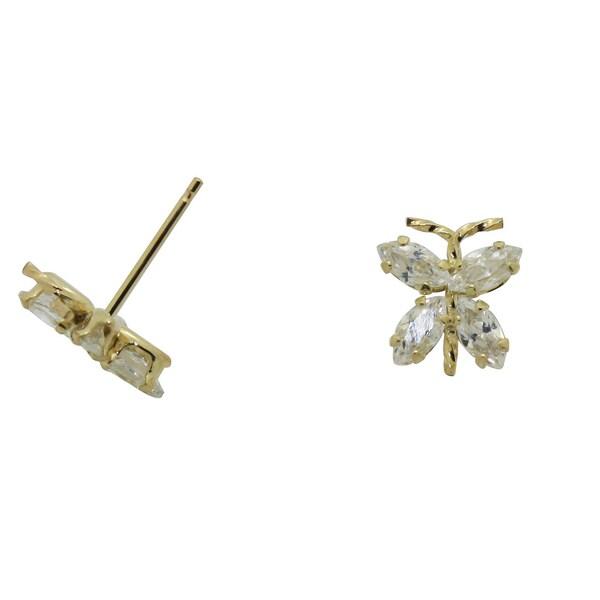 Gioelli 14k Gold Cubic Zirconia Butterfly Earrings