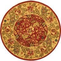 Safavieh Handmade Boitanical Red/ Ivory Wool Rug - 8' x 8' Round