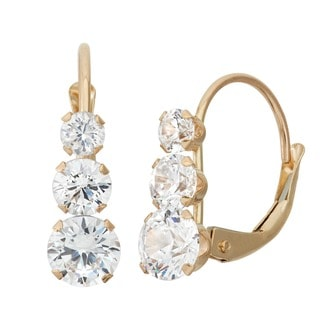 Gioelli 10k Yellow Gold Cubic Zirconia Earrings