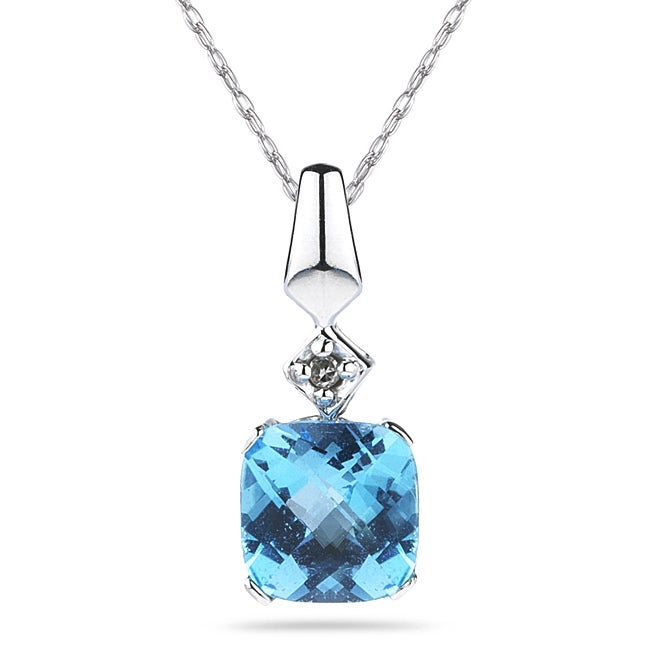 Marquee Jewels 10k White Gold Blue Topaz and Cushion-cut Diamond Necklace