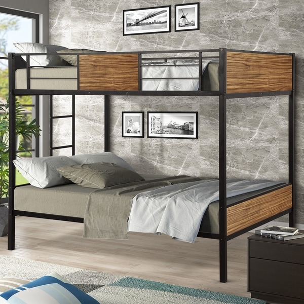 Full Over Full Bunk Bed Modern Style Steel Frame with Safety Rail