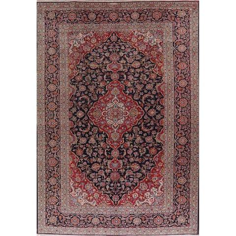 "Vintage Floral Kashan Persian Area Rug Handmade Oriental Carpet - 8'11"" x 12'7"""