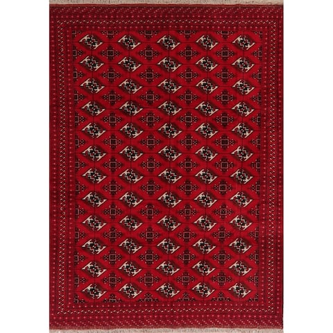 "Geometric Balouch Oriental Area Rug Wool Handmade Red Carpet - 6'11"" x 9'5"""