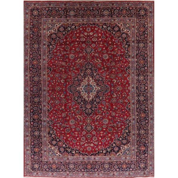 """Traditional Floral Kashan Persian Area Rug Handmade Oriental Carpet - 9'11"""" x 13'3"""". Opens flyout."""